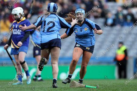 Gailltir vs St. Rynagh's. Gailltir's Shauna Fitzgerald and Annie Fitzgerald celebrate after the game