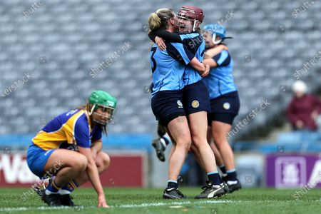 Stock Picture of Gailltir vs St. Rynagh's. Gailltir's Anne Corcoran and Una Jackman celebrate after the game