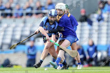 Gailltir vs St. Rynagh's. Gailltir's Annie Fitzgerald and Helen Dolan of St. Rynagh's