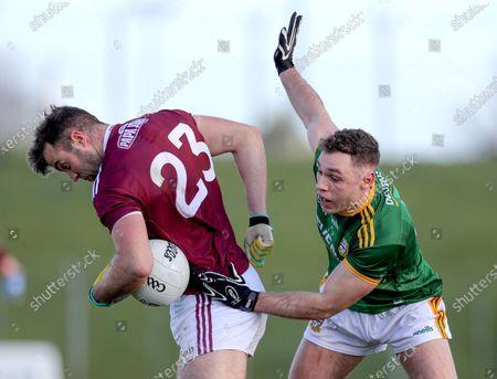 Meath vs Galway. Galway's Paul Conroy under pressure from David Toner of Meath