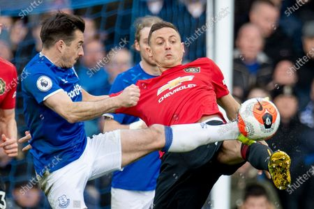 Everton's Leighton Baines (L) in action with Manchester United's Nemanja Matic (R) during the English Premier League soccer match between Everton and Manchester United at Goodison Park, Liverpool, Britain, 01 March 2020.