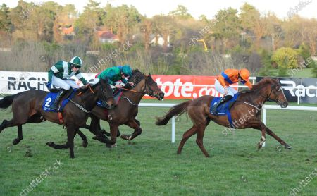 LEOPARDSTOWN LUNAR DISPLAY and Tom Hamilton (right) beats Blazing Khal (left) to win the TRI Equestrian Superstore & Cafe Flat Race. Healy Racing