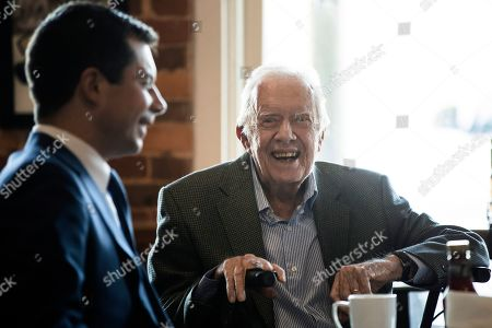 Pete Buttigieg, Jimmy Carter. Democratic presidential candidate and former South Bend, Ind. Mayor Pete Buttigieg, left, meets with former President Jimmy Carter, center, at the Buffalo Cafe in Plains, Ga
