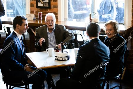 Pete Buttigieg, Jimmy Carter, Chasten Buttigieg, Rosalynn Carter. Democratic presidential candidate and former South Bend, Ind. Mayor Pete Buttigieg, left, and his husband Chasten Buttigieg, second from the right, meet with former President Jimmy Carter and former first lady Rosalynn Carter at the Buffalo Cafe in Plains, Ga