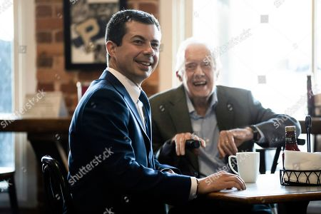 Pete Buttigieg, Jimmy Carter. Democratic presidential candidate and former South Bend, Ind. Mayor Pete Buttigieg, left, meets with former President Jimmy Carter at the Buffalo Cafe in Plains, Ga