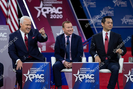 From left, American Conservative Union Chairman Matt Schlapp, Andrew Cooper of LibertyWorks and Jay Aeba, Japanese Conservative Union, speak during Conservative Political Action Conference, CPAC 2020, at the National Harbor, in Oxon Hill, Md