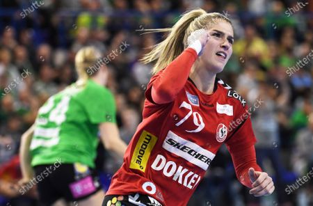 Estavana Polman of Team Esbjerg reacts during the women's handball EHF Champions League match between FTC-Rail Cargo Hungaria and Team Esbjerg, in Erd, Hungary, 01 March 2020.