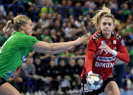 Danick Albertine Snelder (L) of FTC-Rail Cargo Hungaria and Estavana Polman of Team Esbjerg in action during the women's handball EHF Champions League match between FTC-Rail Cargo Hungaria and Team Esbjerg, in Erd, Hungary, 01 March 2020.