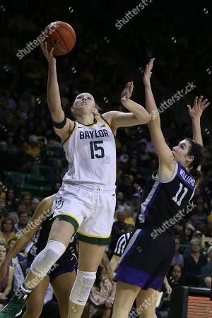 Lauren Cox, Peyton Williams. Baylor forward Lauren Cox shoots over Kansas State forward Peyton Williams, right, in the second half of an NCAA college basketball game, in Waco, Texas
