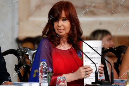 Argentinian vicepresident Cristina Fernandez de Kirchner attends the ordinary opening session at the Congress, in Buenos Aires, Argentina, 01 March 2020. President Fernandez announced a project to decriminalize the abortion, but also a program to help mothers of low-income who decide to give birth to their children.
