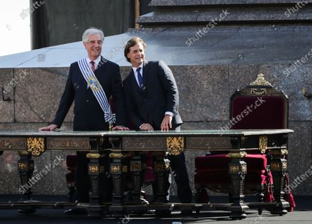 Outgoing president of Uruguay, Tabare Vazquez (L), after delivering the Presidential Band to Luis Lacalle Pou (R), in Montevideo, Uruguay, 01 March 2020 . Lacalle Pou swore the position before the General Assembly for the period 2020-2025.