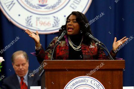 Rep. Terri Sewell speaks at the unity breakfast, in Selma, Ala