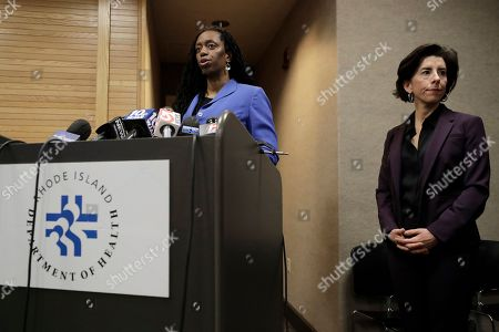 Nicole Alexander-Scott, Gina Raimondo. Rhode Island Director of Health Nicole Alexander-Scott, left, and R.I. Gov. Gina Raimondo, right, face reporters during a news conference, in Providence, R.I. Alexander-Scott took questions on what she described as the state's first presumptive positive case of coronavirus. Officials said the person is in their 40s and had traveled to Italy in February of 2020