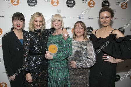 Stock Picture of Maureen Beattie, Denise Gough, Polly Kemp, Karin Paynter and Deirdre Mullins accept the Equity Award for Services To Theatre
