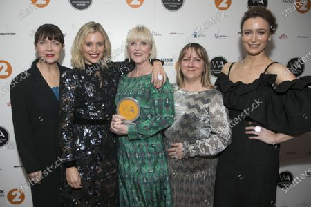 Maureen Beattie, Denise Gough, Polly Kemp, Karin Paynter and Deirdre Mullins accept the Equity Award for Services To Theatre