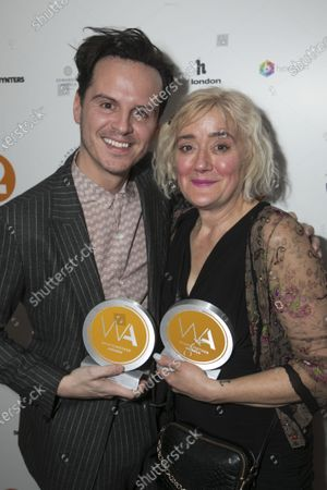 Andrew Scott accepts the award for Best Actor in a Play and Sophie Thompson accepts the award for Best Supporting Actress in a Play