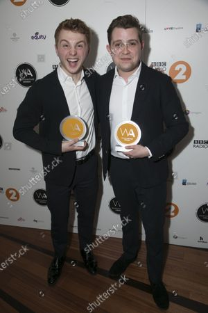 Sam Tutty accepts the award for Best Actor in a Musical and Jack Loxton accepts the award for Best Supporting Actor in a Musical