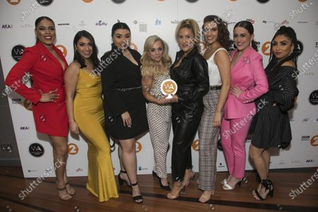 Jarneia Richard-Noel, Courtney Bowman, Sophie Isaacs, Natalie Paris, Collette Guitart, Hana Stewart and Zara MacIntosh accept the Radio 2 Listener Award for Best Musical