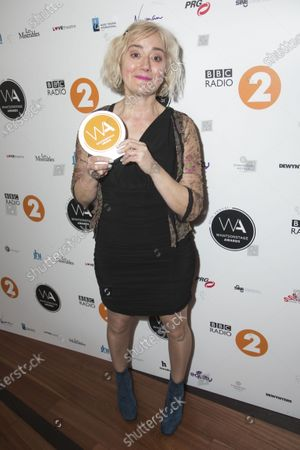 Sophie Thompson accepts the award for Best Supporting Actress in a Play