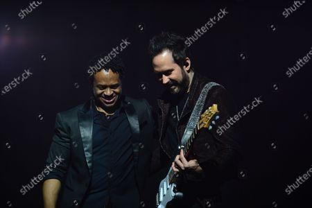 Zurdo Ortega performs on stage with Latin pop rock group Camila Pablo Hurtado and Ian Holmes