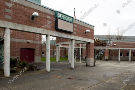 Stock Image of An exterior view of Henry M. Jackson High School where a case of community infection occurred, in Mill Creek, Washington, USA, 01 March 2020. Governor Jay Inslee of Washington state declared a state of emergency in response to the nation's first fatality from COVID-19 coronavirus and the rising number of cases. He directed state agencies to use all resources necessary to prepare for and respond to the outbreak.