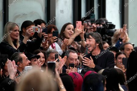 Italian designer Pier Paolo Piccioli (C-R) acknowledges the audience after presenting his Fall/Winter 2020/21 women's collection for the Valentino fashion house during the Paris Fashion Week, in Paris, France, 01 March 2020. The Fall-Winter 2020/21 women's collection runs from 24 February to 03 March 2020.