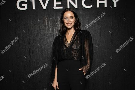 Abigail Spencer poses for photographers ahead of the Givenchy fashion collection during Women's fashion week Fall/Winter 2020/21 presented in Paris