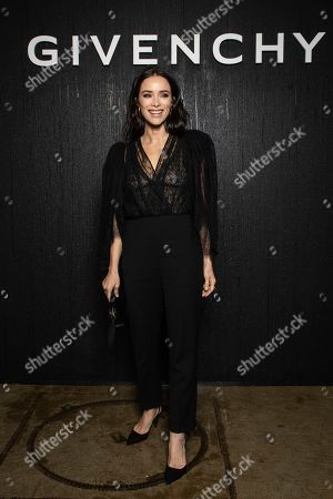 Stock Image of Abigail Spencer poses for photographers ahead of the Givenchy fashion collection during Women's fashion week Fall/Winter 2020/21 presented in Paris