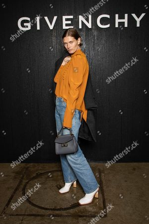 Stock Photo of Malgosia Bela poses for photographers ahead of the Givenchy fashion collection during Women's fashion week Fall/Winter 2020/21 presented in Paris