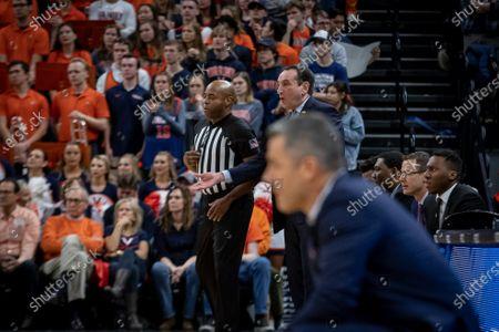 Duke Head Coach Mike Krzyzewski during the NCAA Basketball game between the Duke University Blue Devils and University of Virginia Cavaliers at John Paul Jones Arena in Charlottesville, VA