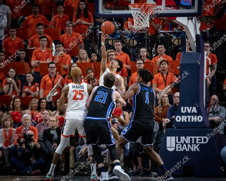 Virginia Guard Kihei Clark (0) during the NCAA Basketball game between the Duke University Blue Devils and University of Virginia Cavaliers at John Paul Jones Arena in Charlottesville, VA
