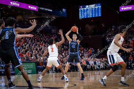 Duke Forward Jack White (41) during the NCAA Basketball game between the Duke University Blue Devils and University of Virginia Cavaliers at John Paul Jones Arena in Charlottesville, VA