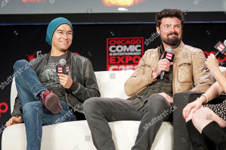 Karl Urban, Antony Starr. Antony Starr, left, and Karl Urban participate on day 3 during 'The Boys Cast Q&A' panel at C2E2 at McCormick Place on in Chicago