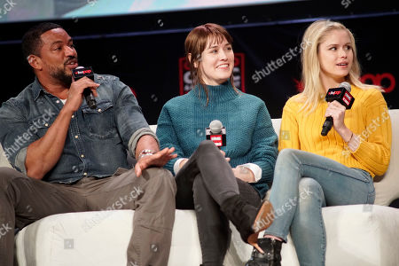 Laz Alonzo, Dominique McElligott, Erin Moriarty. Laz Alonzo, from left, Dominique McElligott and Erin Moriarty participate on day 3 during 'The Boys Cast Q&A' panel at C2E2 at McCormick Place on in Chicago