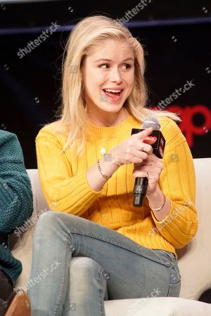 Erin Moriarty participates on day 3 during 'The Boys Cast Q&A' panel at C2E2 at McCormick Place on in Chicago