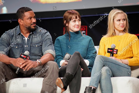 Stock Picture of Laz Alonzo, Dominique McElligott, Erin Moriarty. Laz Alonzo, from left, Dominique McElligott and Erin Moriarty participate on day 3 during 'The Boys Cast Q&A' panel at C2E2 at McCormick Place on in Chicago