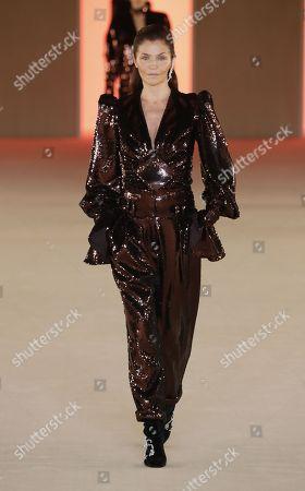 Stock Image of Helena Christensen on the catwalk