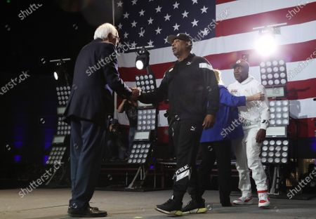 Stock Image of Bernie Sanders and Chuck D of Public Enemy