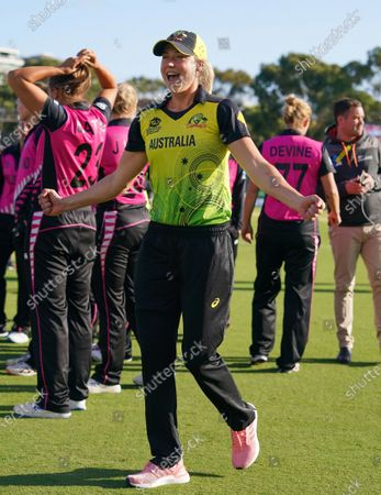 Ellyse Perry (C) of Australia celebrates after winning the Women's T20 World Cup cricket match between Australia and New Zealand at Junction Oval in Melbourne, Australia, 02 March 2020.