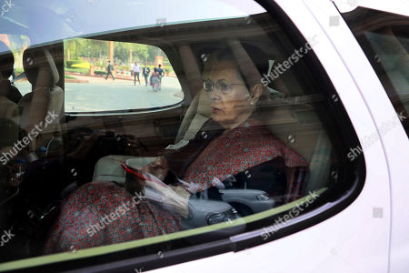 Indian Congress party president Sonia Gandhi arrives at the Parliament in New Delhi, India, . Opposition lawmakers Monday protested against last week's deadly communal riots in New Delhi and demanded resignation of Indian Home Minister Amit Shah
