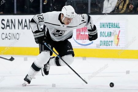 Los Angeles Kings center Trevor Moore (12) plays against the Vegas Golden Knights during an NHL hockey game, in Las Vegas