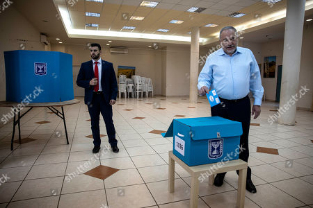 Stock Photo of The leader of the Yisrael Beiteinu right-wing nationalist party Avigdor Liberman votes in the settlement of Nokdim, West Bank