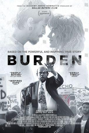 Burden (2018) Poster Art. Garrett Hedlund as Mike Burden, Andrea Riseborough as Judy and Forest Whitaker as Reverend Kennedy