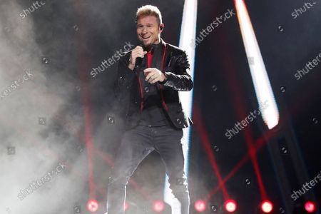 Brian Littrell of US band Backstreet Boys performs as part of their 'DNA World Tour' tour, at the Movistar Arena in Bogota, Colombia, 01 March 2020.