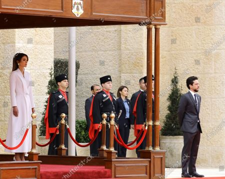 Queen Rania of Jordan (L) and Crown Prince Al Hussein bin Abdullah (R) look on as King Harald V of Norway and King Abdullah II of Jordan (both unseen) review the Guard of Honor, during the welcome ceremony at al-Husseiniya Palace in Amman, Jordan, 02 March 2020. The King and Queen of Norway arrived in Jordan on 01 March for a four-day official visit. In their first state visit to the Kingdom of Jordan, they are accompanied by a number of officials and an economic delegation.