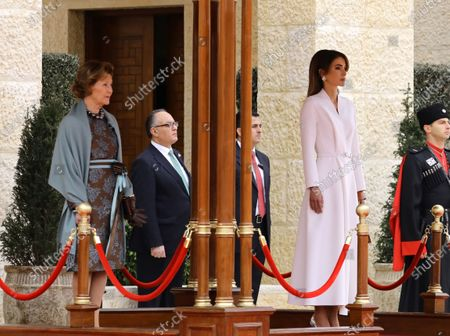 Queen Sonia of Norway (L) and Queen Rania of Jordan (R) look on as King Harald V of Norway and King Abdullah II of Jordan (both unseen) review the Guard of Honor, during the welcome ceremony at al-Husseiniya Palace in Amman, Jordan, 02 March 2020. The King and Queen of Norway arrived in Jordan on 01 March for a four-day official visit. In their first state visit to the Kingdom of Jordan, they are accompanied by a number of officials and an economic delegation.