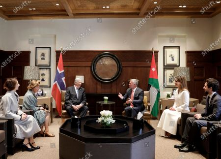 Stock Picture of King Abdullah II of Jordan (C-R) and King Harald V of Norway (C-L) meet in presence of Queen Rania of Jordan (2-R) and Crown Prince Al Hussein bin Abdullah II (R) as well as Queen Sonia of Norway (2-L) at al-Husseiniya Palace in Amman, Jordan, 02 March 2020. The King and Queen of Norway arrived in Jordan on 01 March for a four-day official visit. In their first state visit to the Kingdom of Jordan, they are accompanied by a number of officials and an economic delegation.
