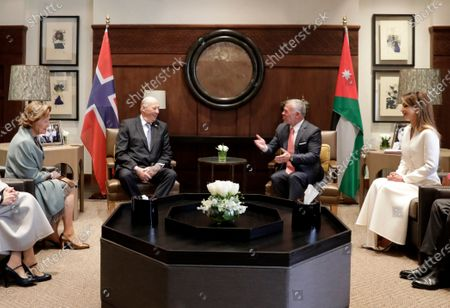 King Abdullah II of Jordan (C-R) and King Harald V of Norway (C-L) meet in presence of Queen Rania of Jordan (R) and Queen Sonia of Norway (L) at al-Husseiniya Palace in Amman, Jordan, 02 March 2020. The King and Queen of Norway arrived in Jordan on 01 March for a four-day official visit. In their first state visit to the Kingdom of Jordan, they are accompanied by a number of officials and an economic delegation.