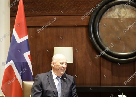 King Harald V of Norway reacts during his meeting with King Abdullah II of Jordan (unseen) at al-Husseiniya Palace in Amman, Jordan, 02 March 2020. The King and Queen of Norway arrived in Jordan on 01 March for a four-day official visit. In their first state visit to the Kingdom of Jordan, they are accompanied by a number of officials and an economic delegation.