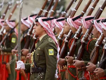Jordan Royal Guards of Honor arrive to the welcome ceremony of King Abdullah II of Jordan for King Harald V and Queen Sonia of Norway at al-Husseiniya Palace in Amman, Jordan, 02 March 2020. The King and Queen of Norway arrived in Jordan on 01 March for a four-day official visit. In their first state visit to the Kingdom of Jordan, they are accompanied by a number of officials and an economic delegation.